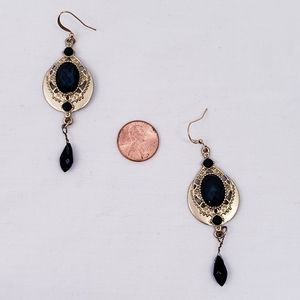 Goldtone & Faceted Blue plastic dangle earrings
